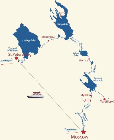 Route mit dem Schiff - Moskau nach St. Petersburg